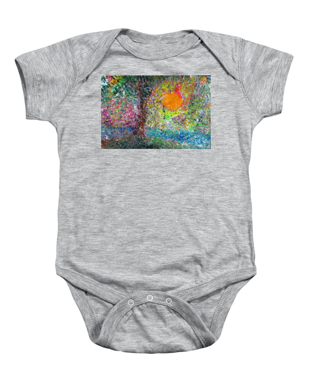 Playful Baby Onesie featuring the painting Fall Sun by Jacqueline Athmann