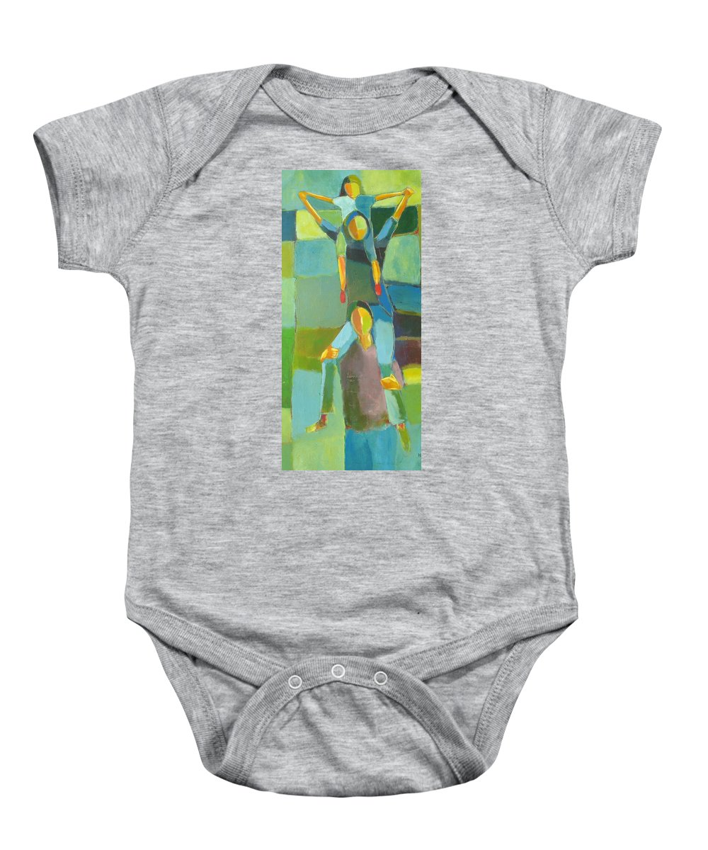 Abstract Baby Onesie featuring the painting Family Joy by Habib Ayat