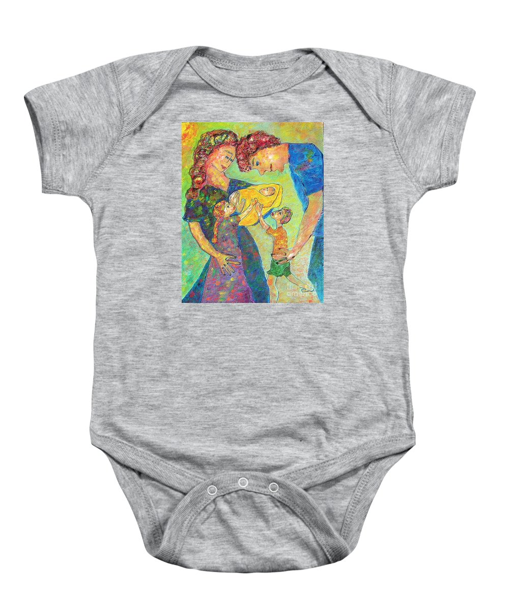 Family Enjoying Each Other Baby Onesie featuring the painting Family Matters by Naomi Gerrard