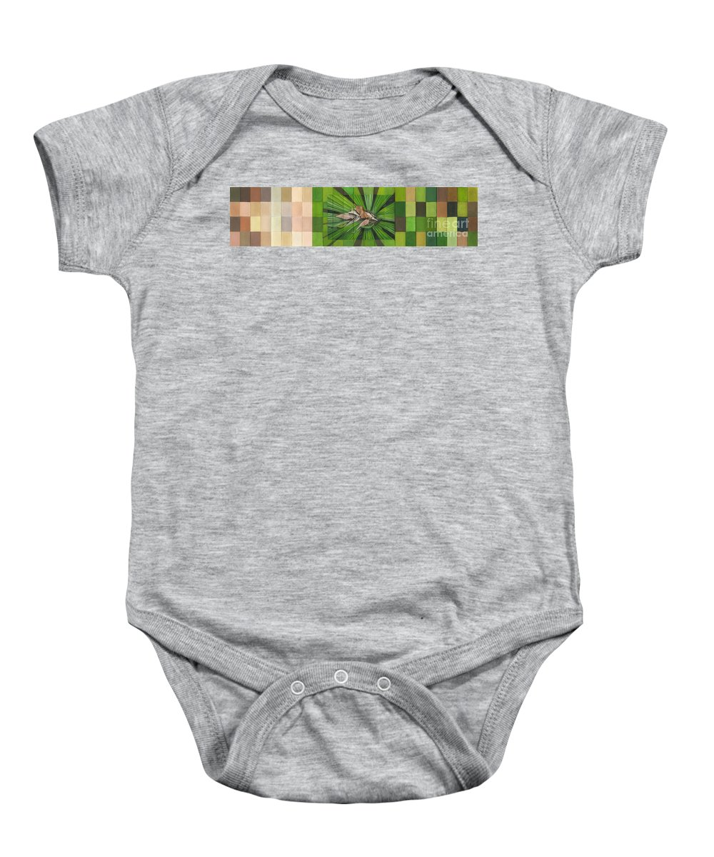 Nature Baby Onesie featuring the painting Fantail Palm Plateau by Kerryn Madsen - Pietsch