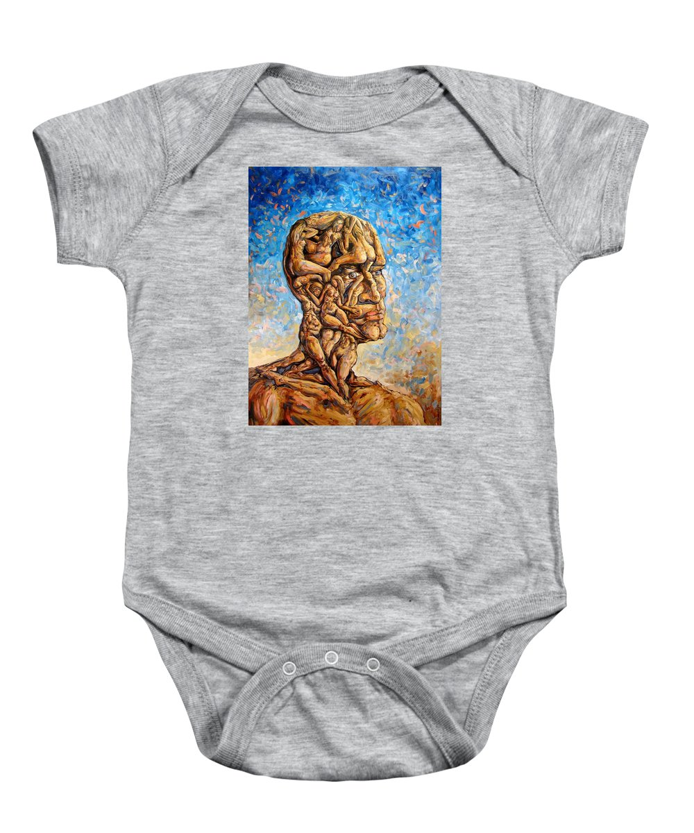 Surrealism Baby Onesie featuring the painting Fantasies Of A 120 Years Old Man Struggling To Survive by Darwin Leon
