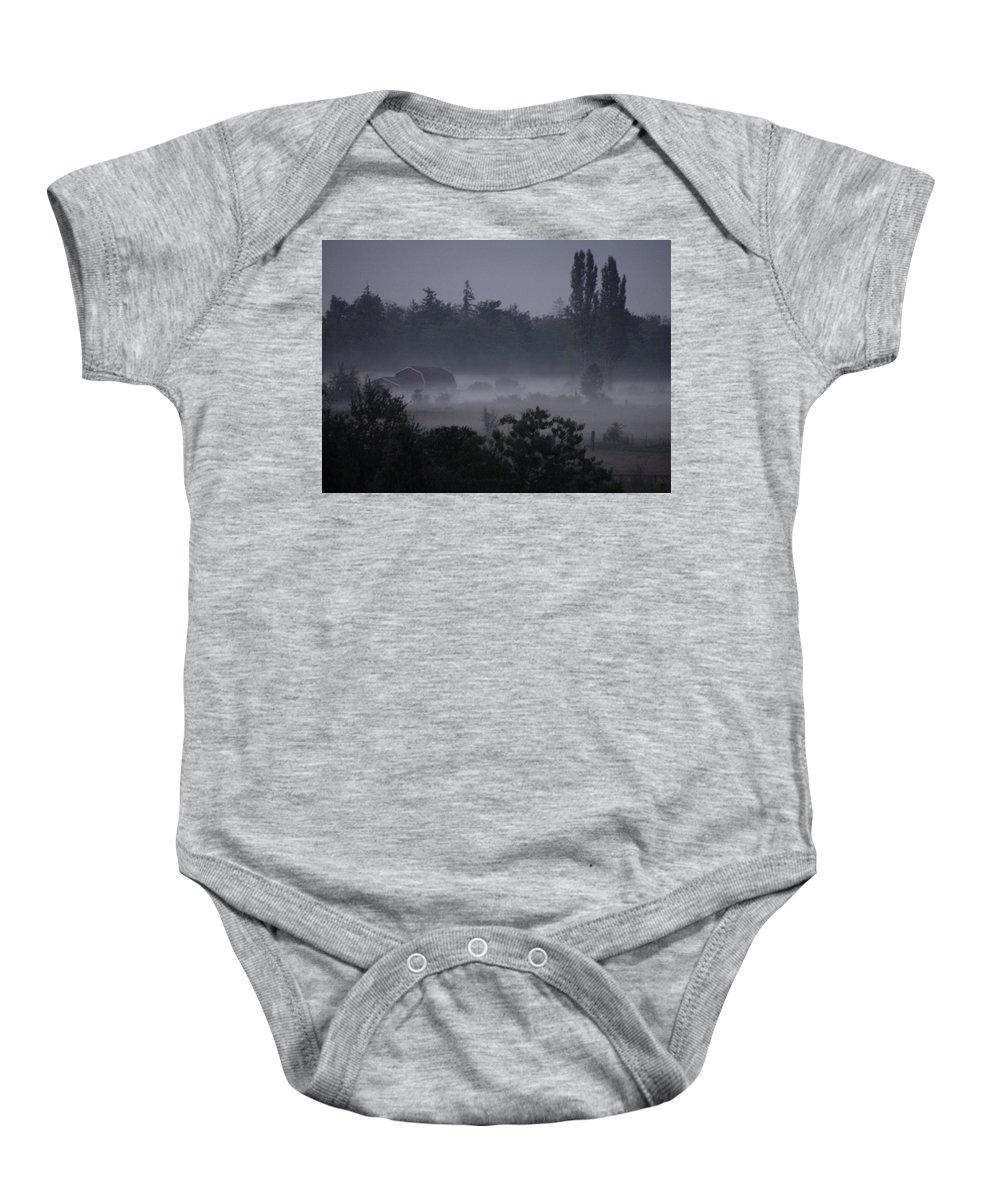 Farm Baby Onesie featuring the photograph Farm In Fog by Shirley Heyn