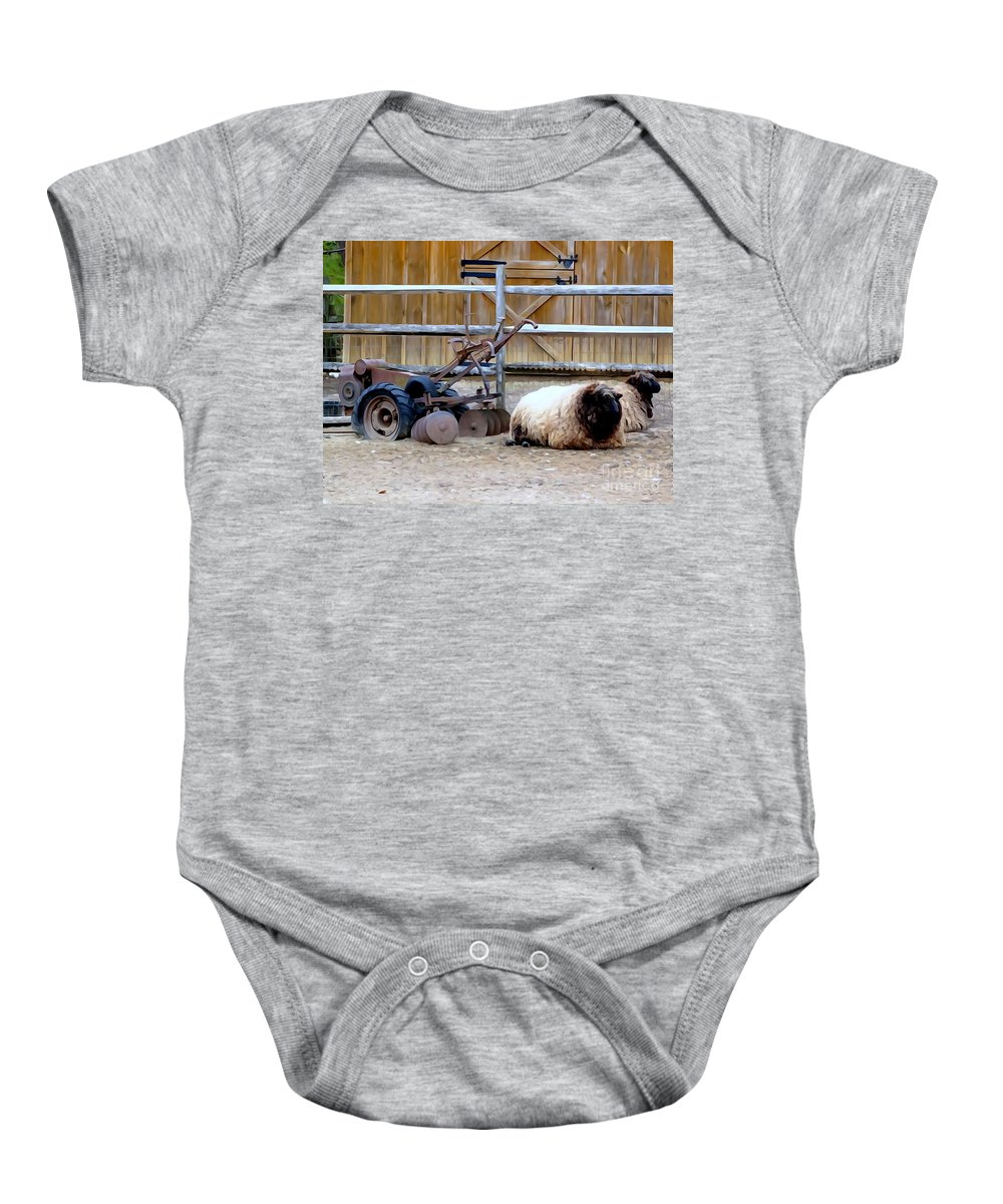 Abstract Baby Onesie featuring the photograph Farm Scene by Ed Weidman