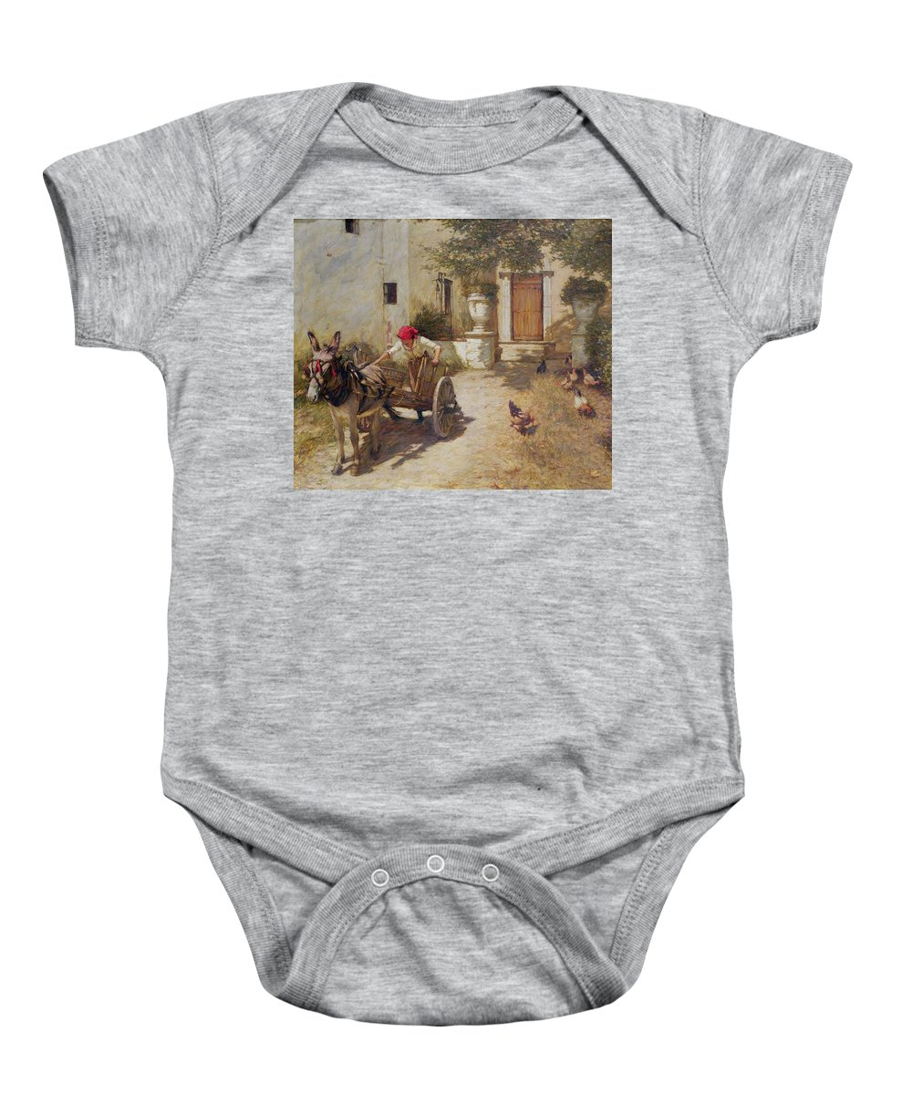 Farm Baby Onesie featuring the painting Farm Yard Scene by Henry Herbert La Thangue