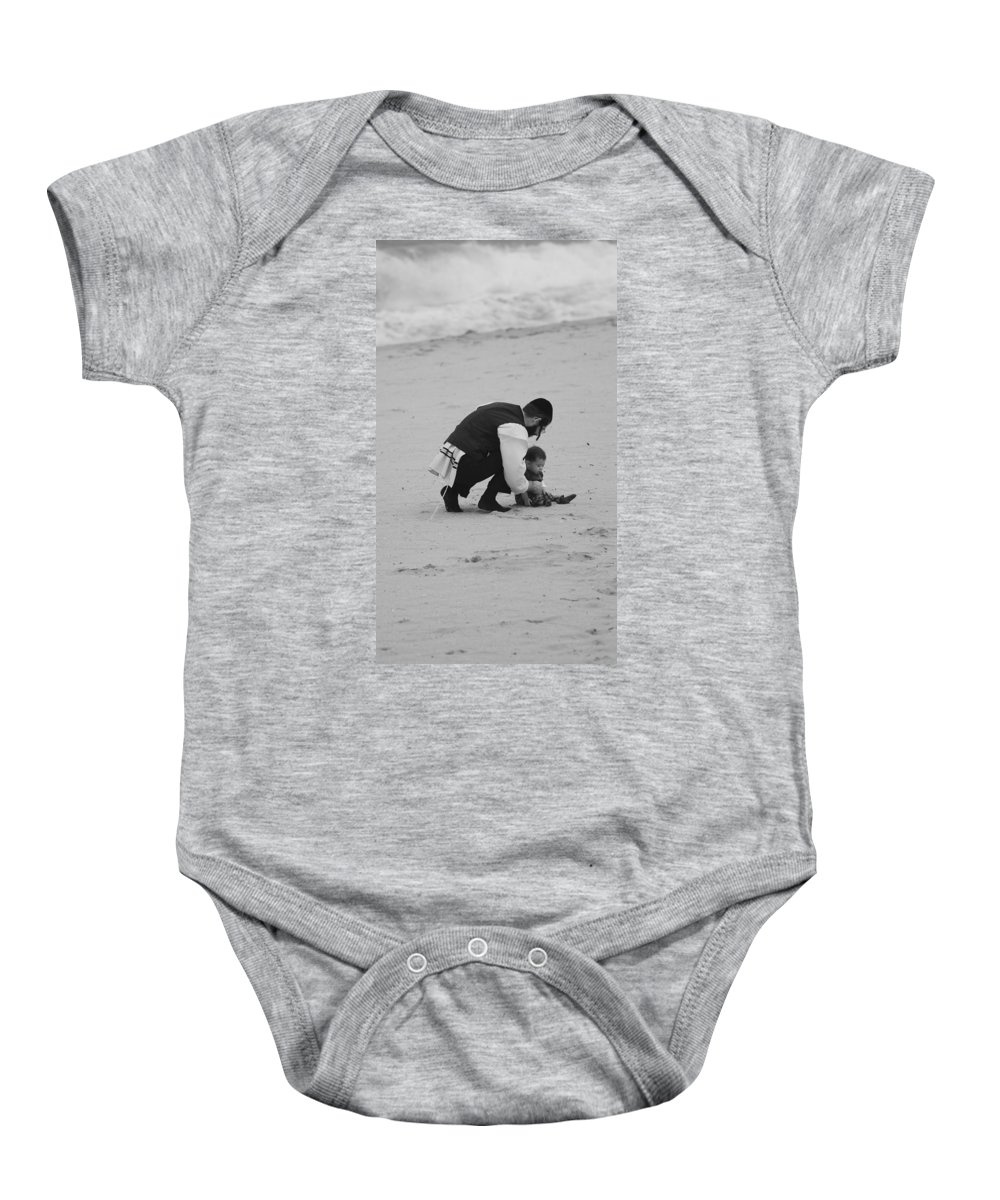 Black And White Baby Onesie featuring the photograph Father And Daughter by Rob Hans