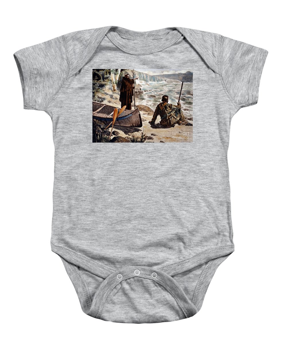 1680 Baby Onesie featuring the painting Father Louis Hennepin by Granger