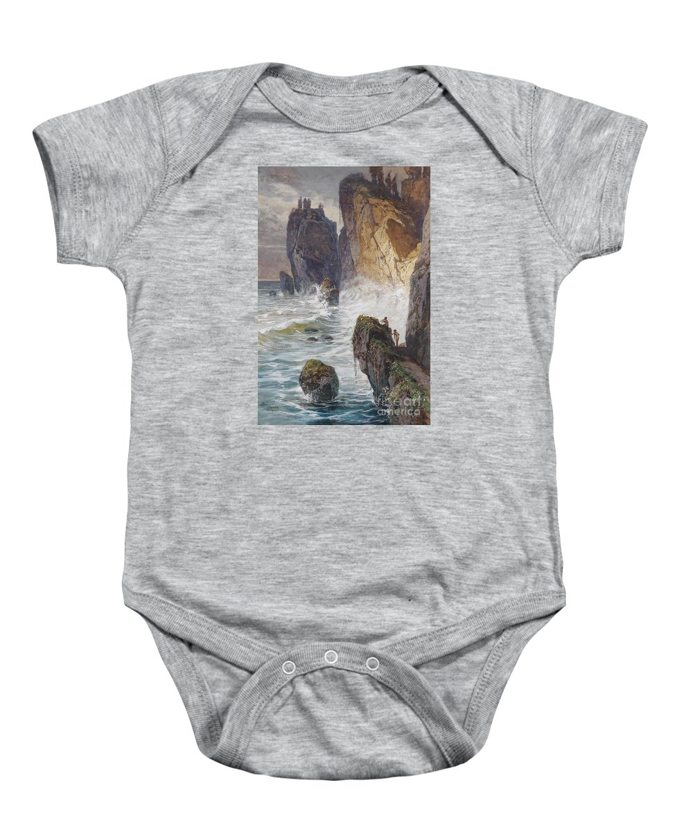 Janny Baby Onesie featuring the painting Faunen An Einer Felskuste by Celestial Images