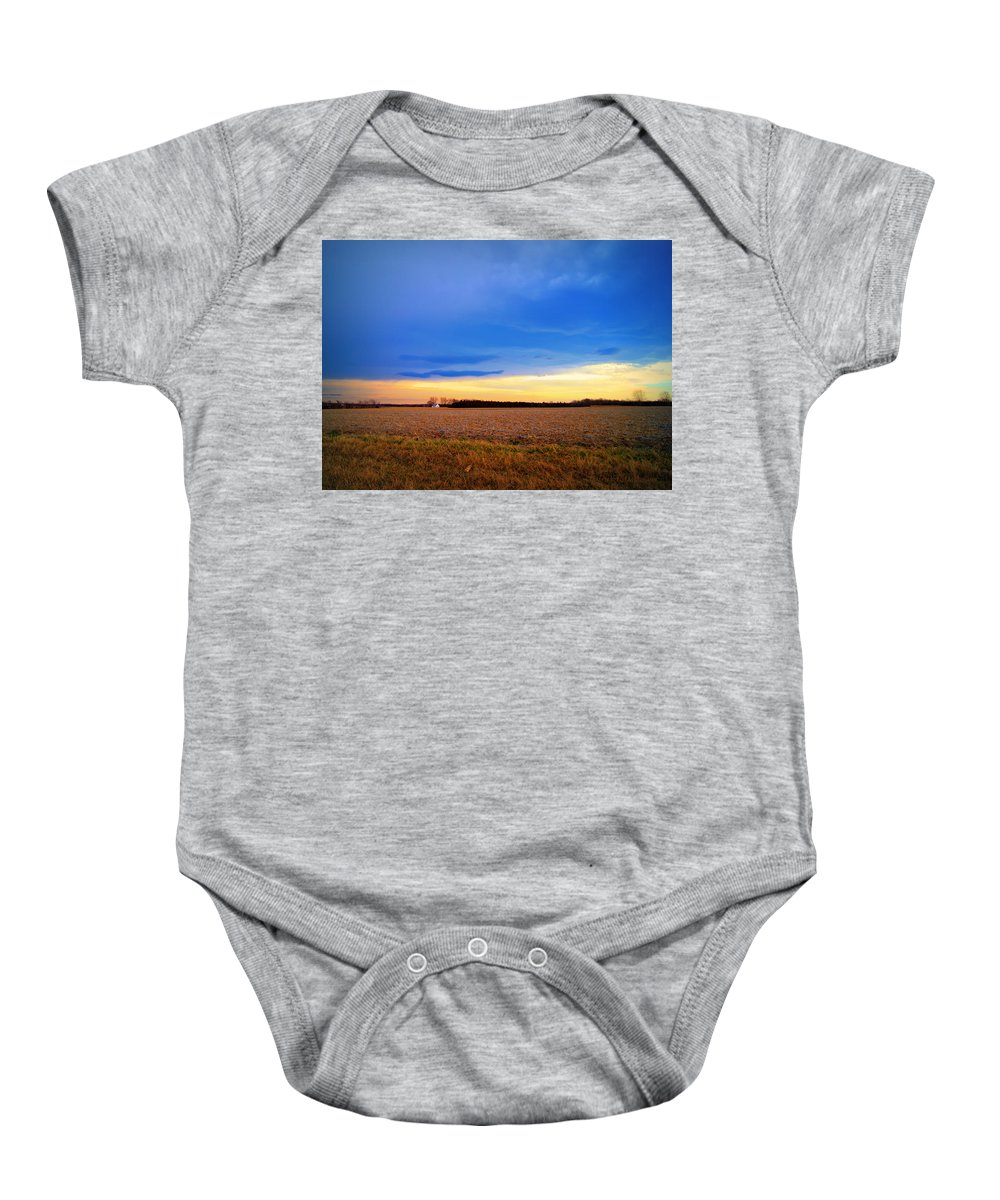 Farm Baby Onesie featuring the photograph February Fields by Cricket Hackmann