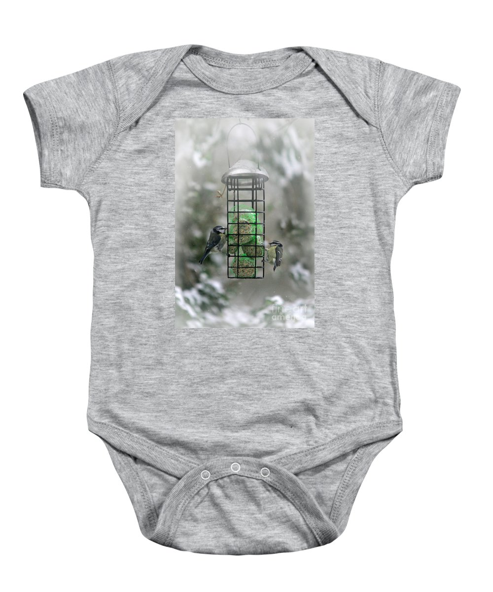 Winter Baby Onesie featuring the photograph Feed The Hunger by Angel Ciesniarska