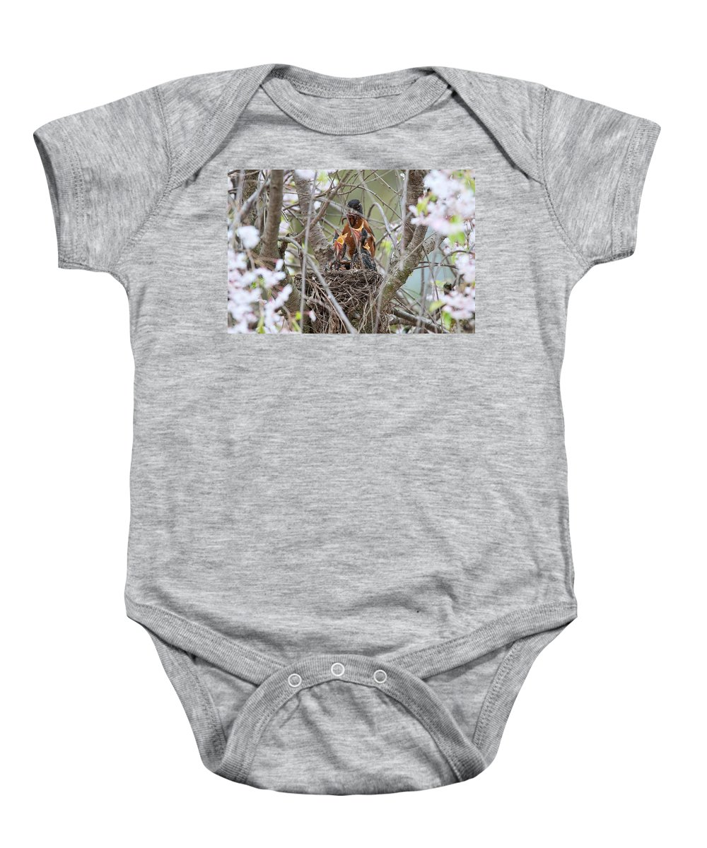 Robins Baby Onesie featuring the photograph Feeding Frenzie by David Arment