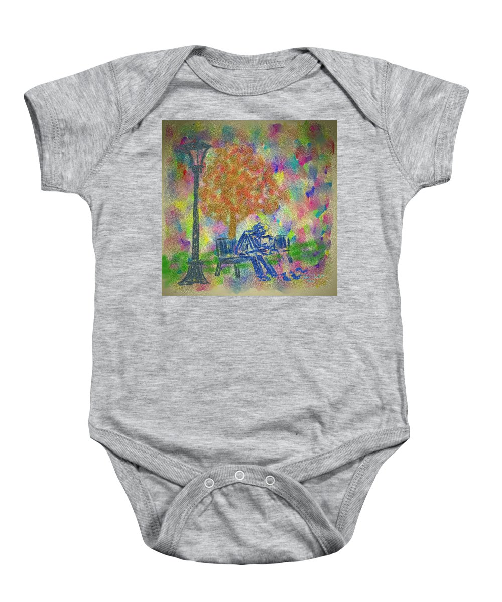 Birds Baby Onesie featuring the painting Feeding The Birds by Kevin Caudill