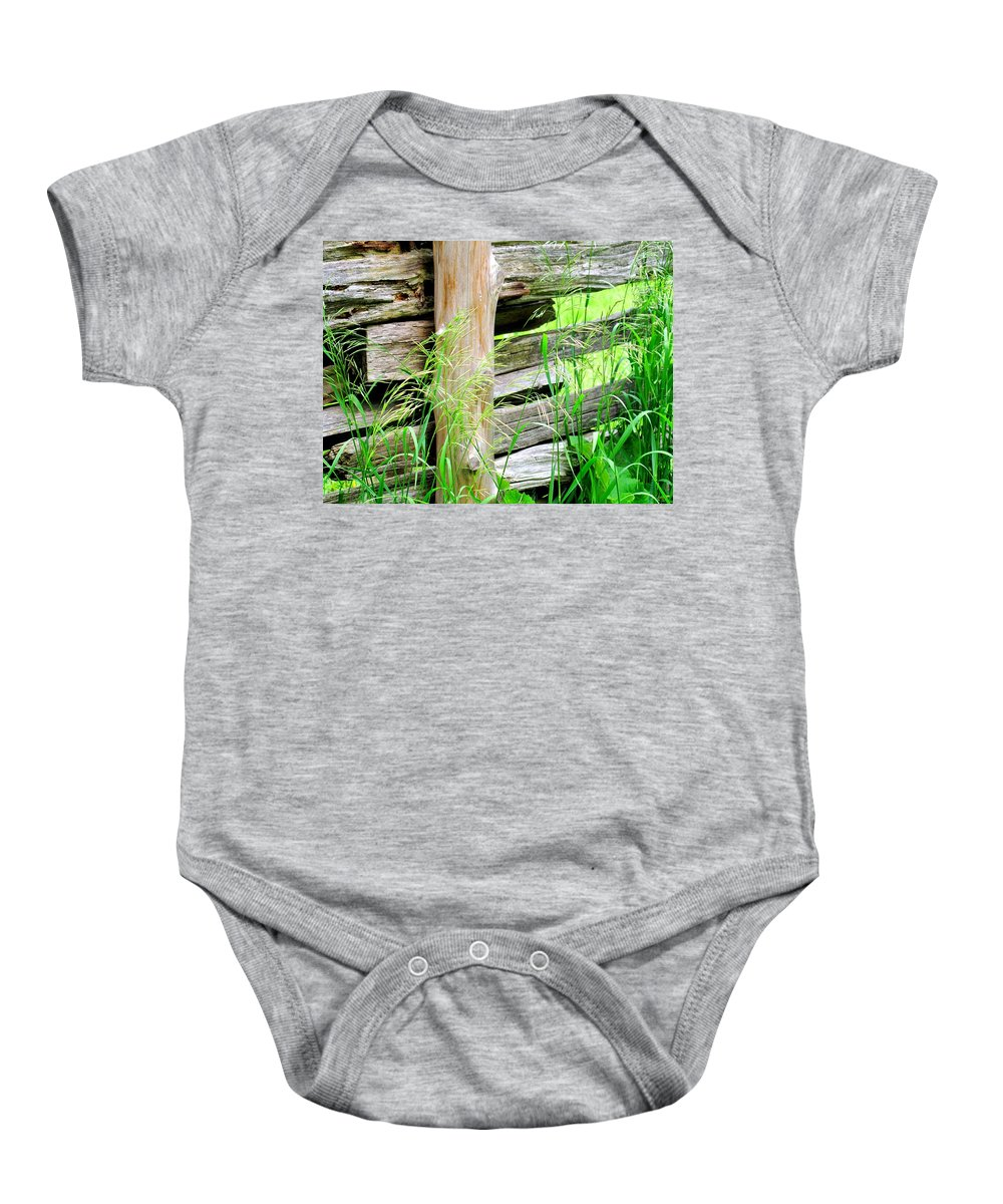 Fence Baby Onesie featuring the photograph Fence by Ian MacDonald