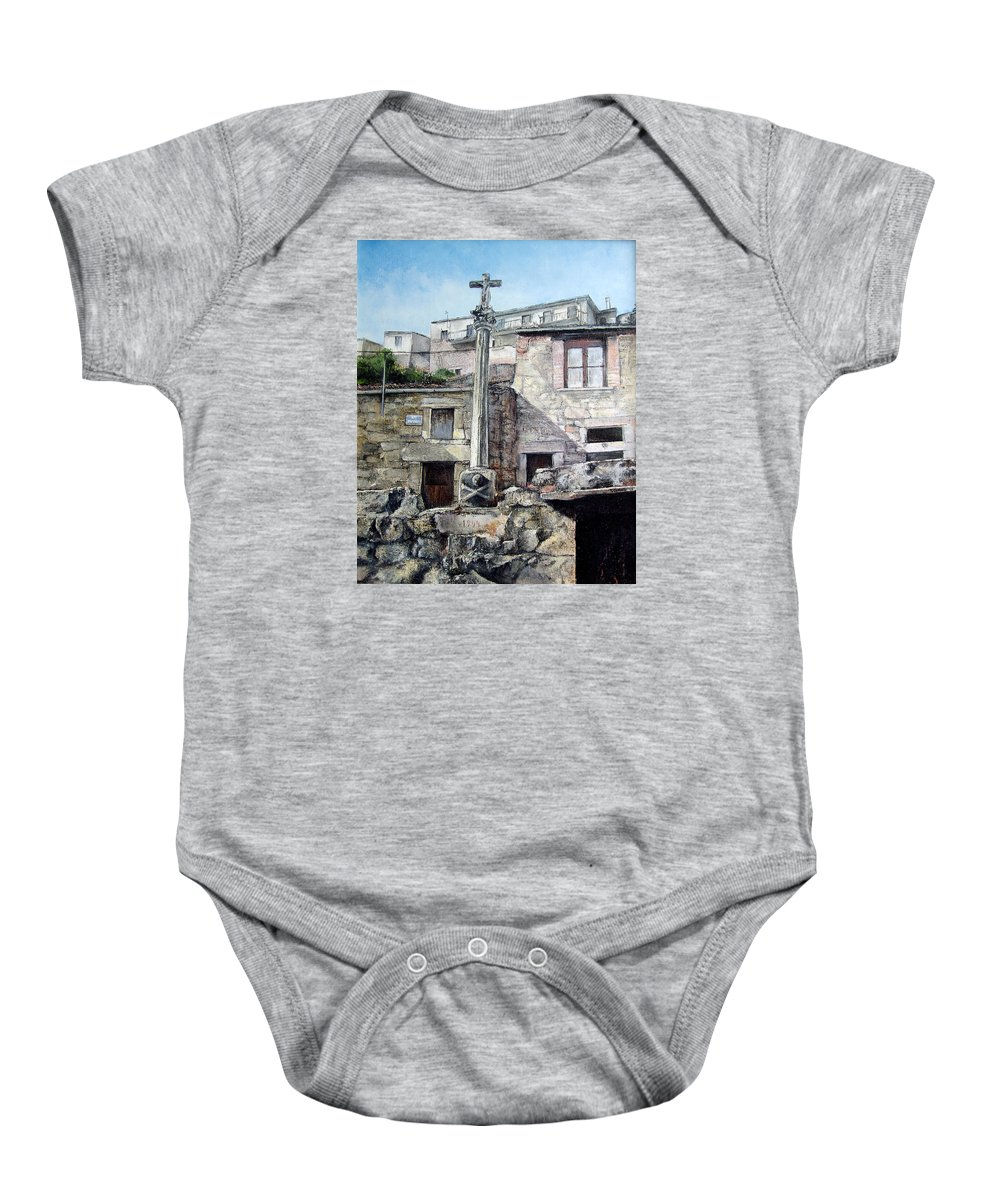 Fermoselle Baby Onesie featuring the painting Fermoselle.-crucero by Tomas Castano