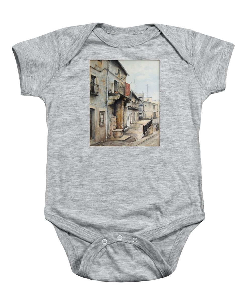 Fermoselle Zamora Spain Oil Painting City Scapes Urban Art Baby Onesie featuring the painting Fermoselle by Tomas Castano