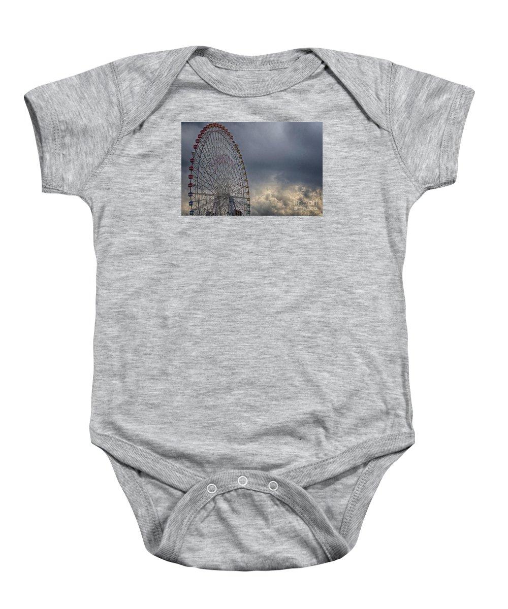 Cloud Baby Onesie featuring the photograph Ferris Wheel by Tad Kanazaki