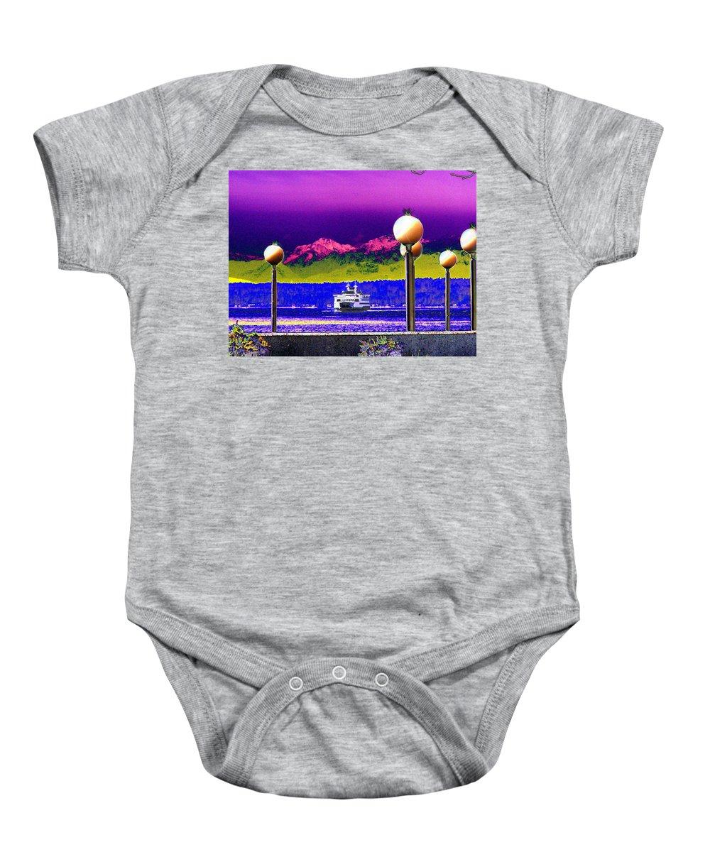 Seattle Baby Onesie featuring the digital art Ferry On Elliott Bay by Tim Allen