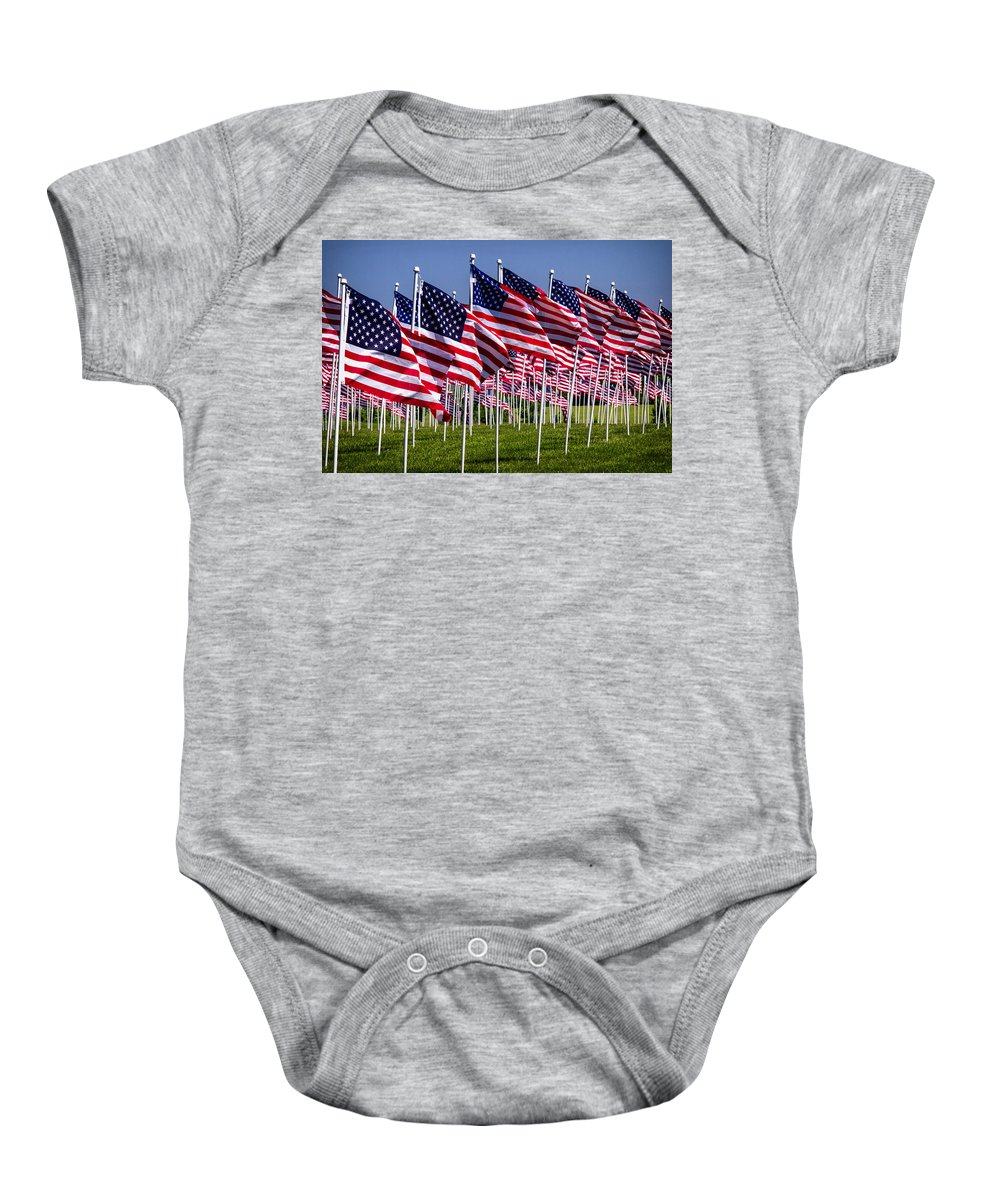 American Flags Baby Onesie featuring the photograph Field Of Flags For Heroes by Bill Swartwout Fine Art Photography