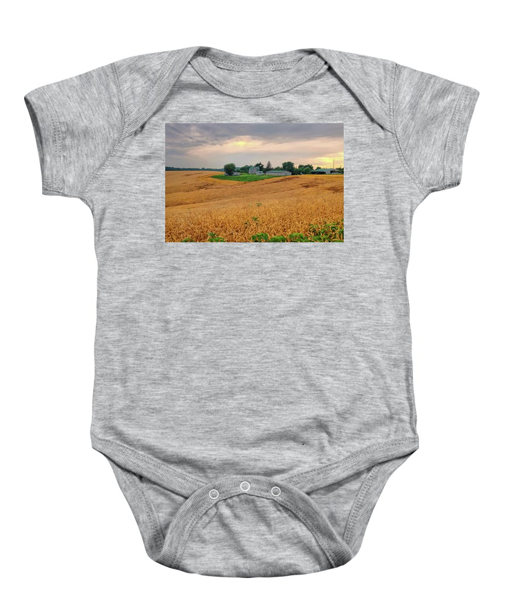 Wheatfields Baby Onesie featuring the photograph Fields Of Gold, Illinois by David Gaynor