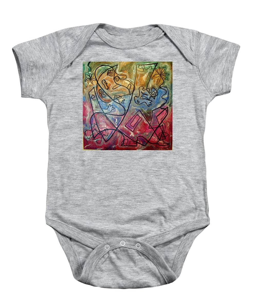 Modern Abstract Baby Onesie featuring the painting Finding Sun by W Todd Durrance