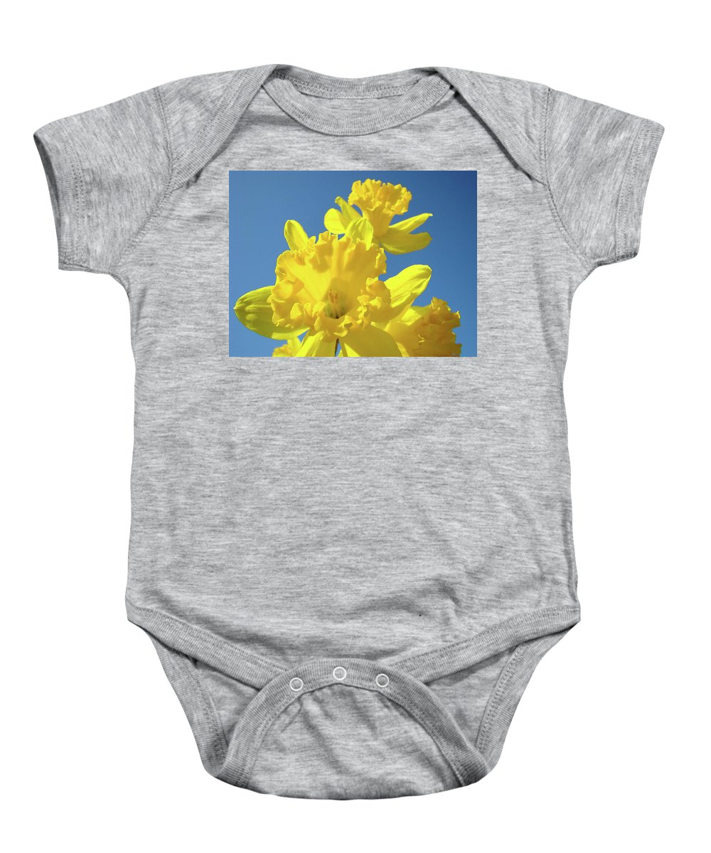 Sky Baby Onesie featuring the photograph Fine Art Daffodils Floral Spring Flowers Art Prints Canvas Baslee Troutman by Baslee Troutman