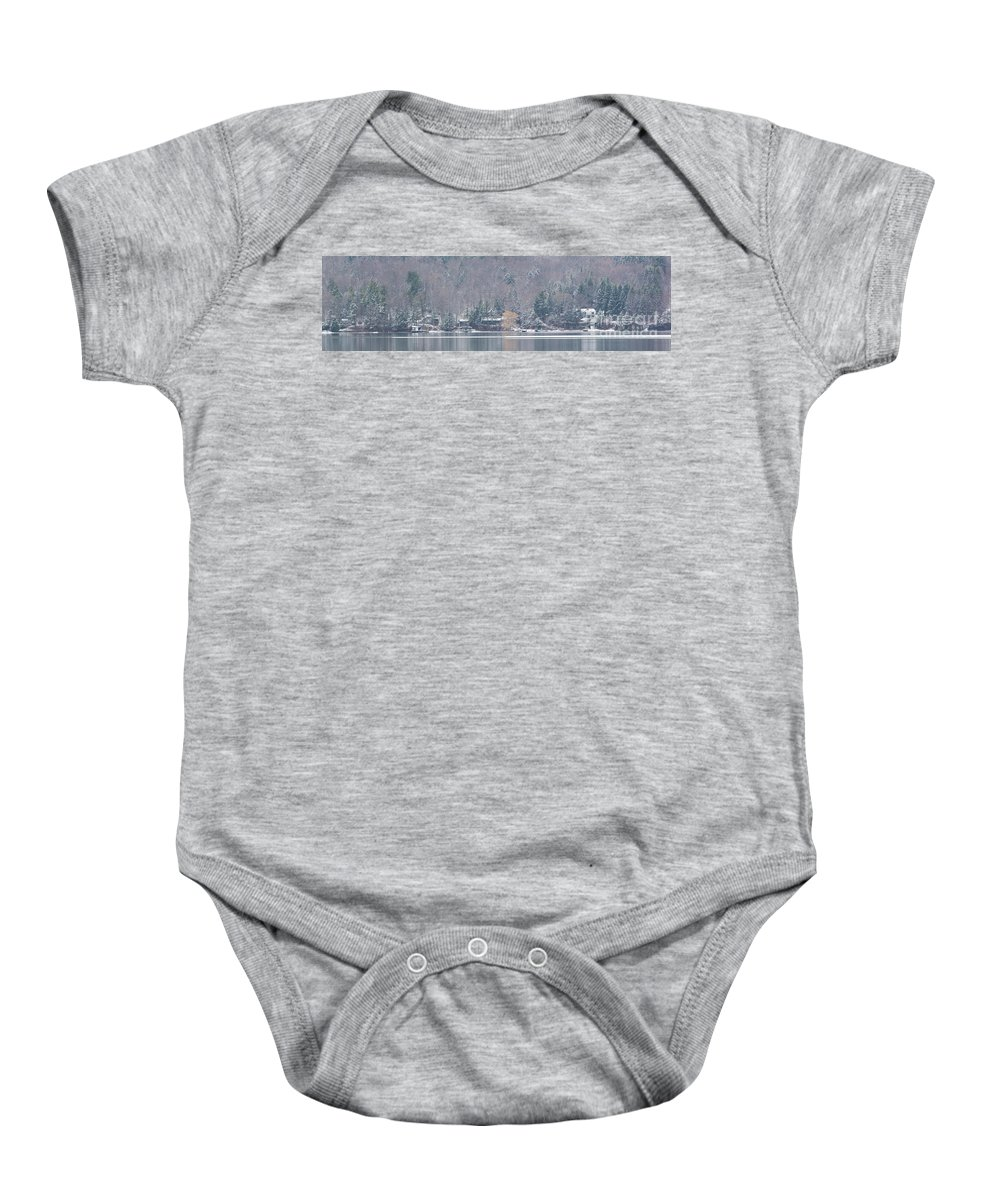 Michele Baby Onesie featuring the photograph Finger Lakes Winter Panorama by Michele Steffey