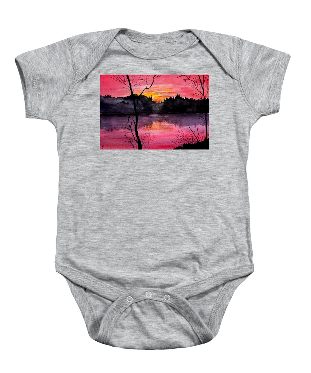 Landscape Baby Onesie featuring the painting Fire In The Sky  Lake Arrowhead Maine by Brenda Owen