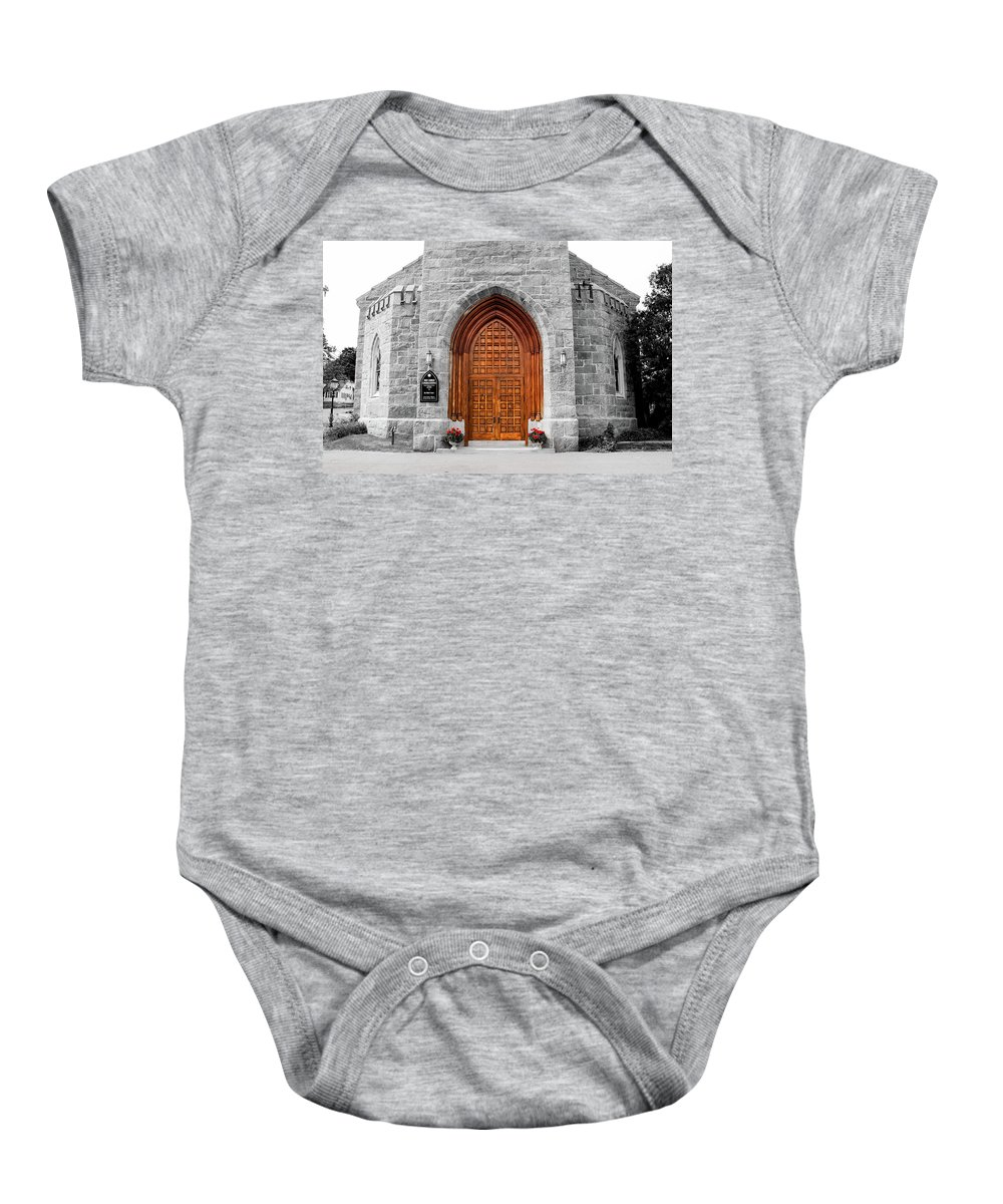 Massachusetts Baby Onesie featuring the photograph First Congregational Church by Greg Fortier