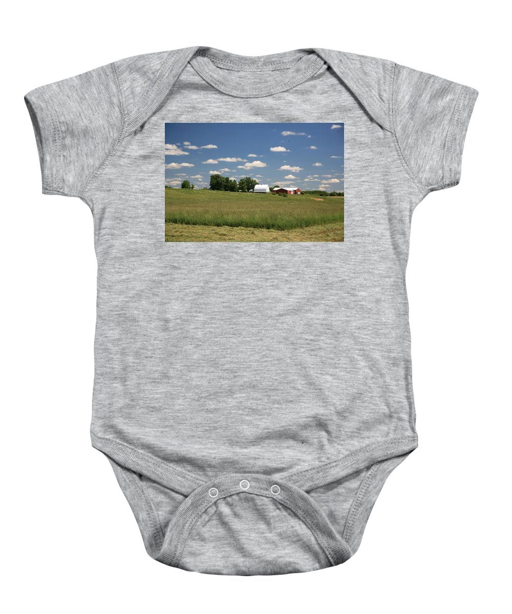 Farm Baby Onesie featuring the photograph First Cutting by Robert Pearson