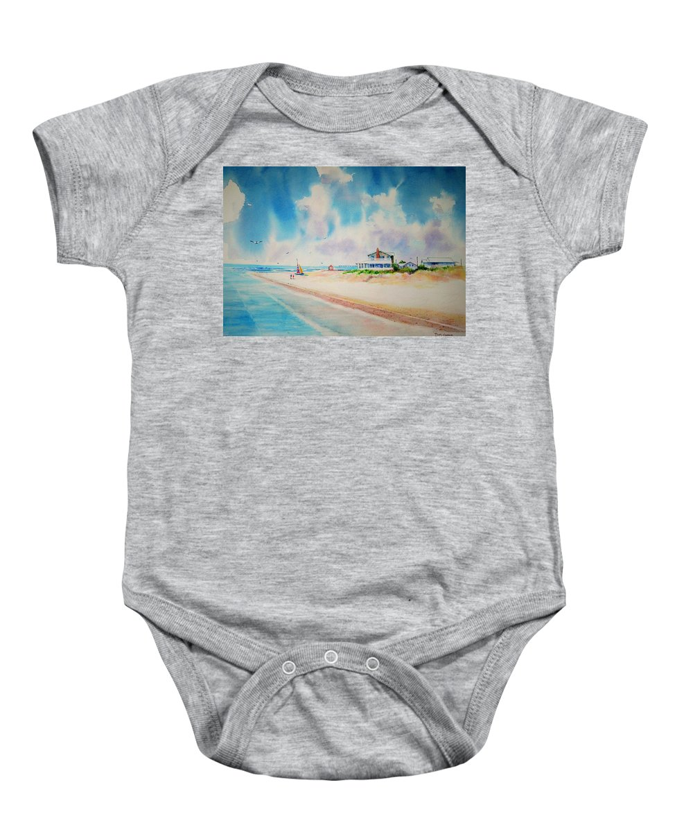 Beach Baby Onesie featuring the painting First Day Of Vacation Is Pricless by Tom Harris