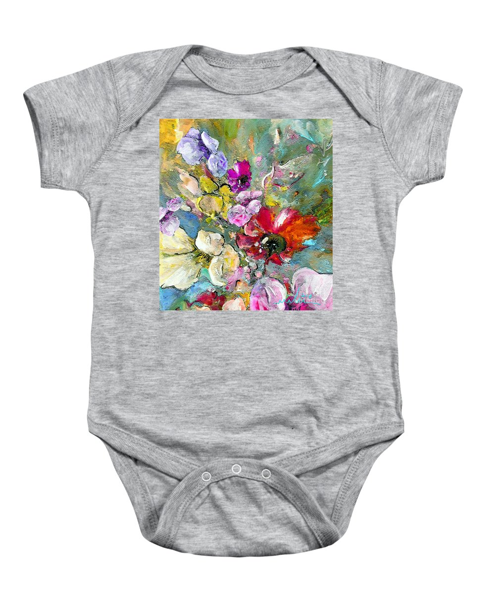 Nature Painting Baby Onesie featuring the painting First Flowers by Miki De Goodaboom