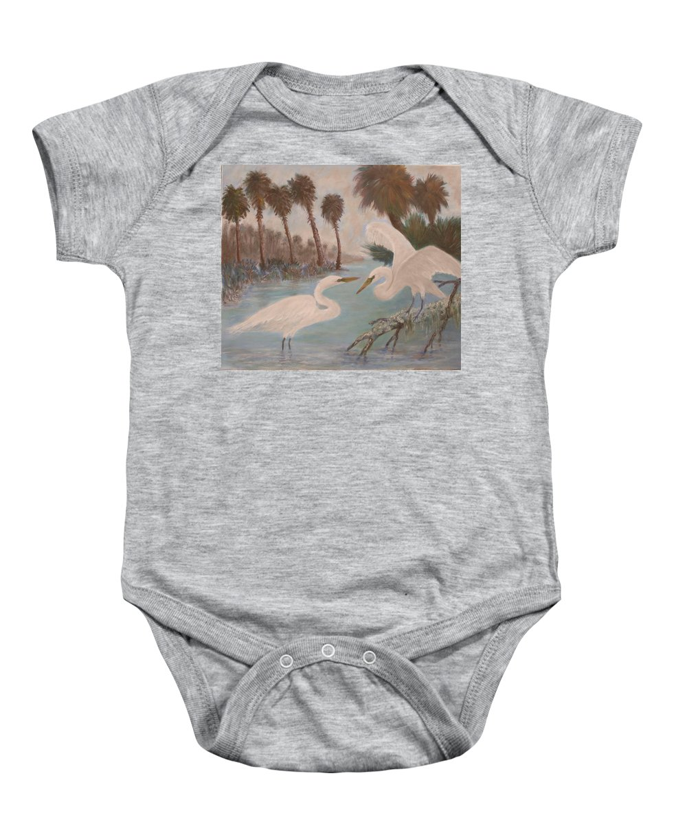 Egret Baby Onesie featuring the painting First Meeting by Ben Kiger