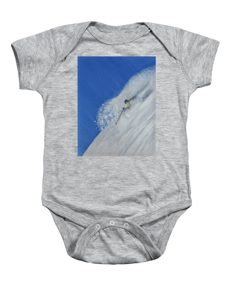 Ski Baby Onesie featuring the painting First by Michael Cuozzo