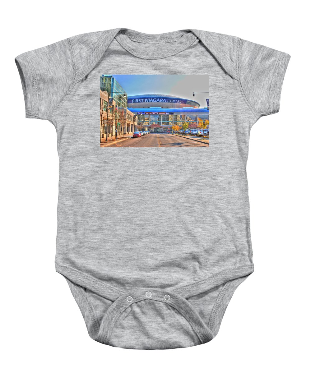 Baby Onesie featuring the photograph First Niagara Center by Michael Frank Jr
