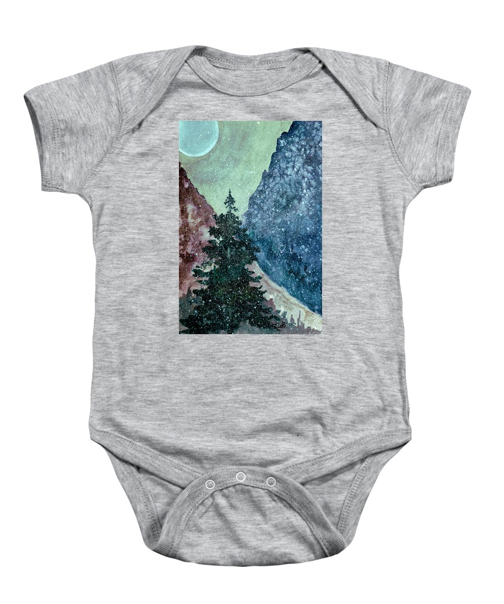 Landscape Baby Onesie featuring the painting First Snowfall by Brenda Owen