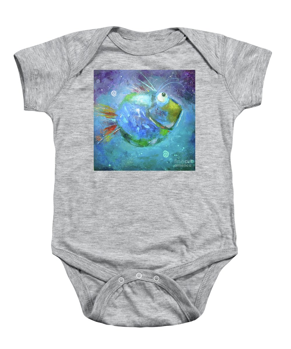 Fish Baby Onesie featuring the painting Fish Blue by Aksana Vaitsakhovich