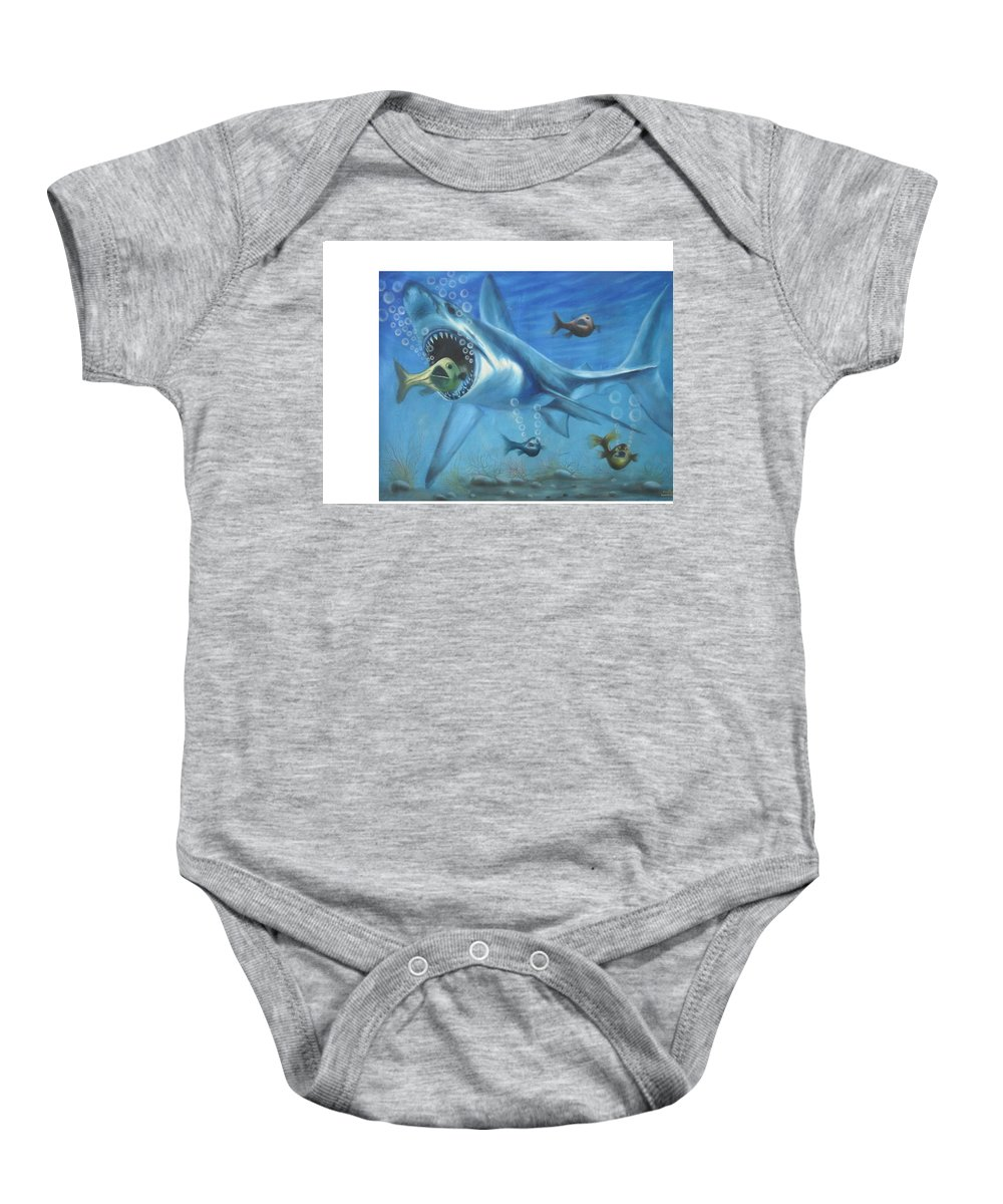 Fish Baby Onesie featuring the painting Fish In Action by Olaoluwa Smith