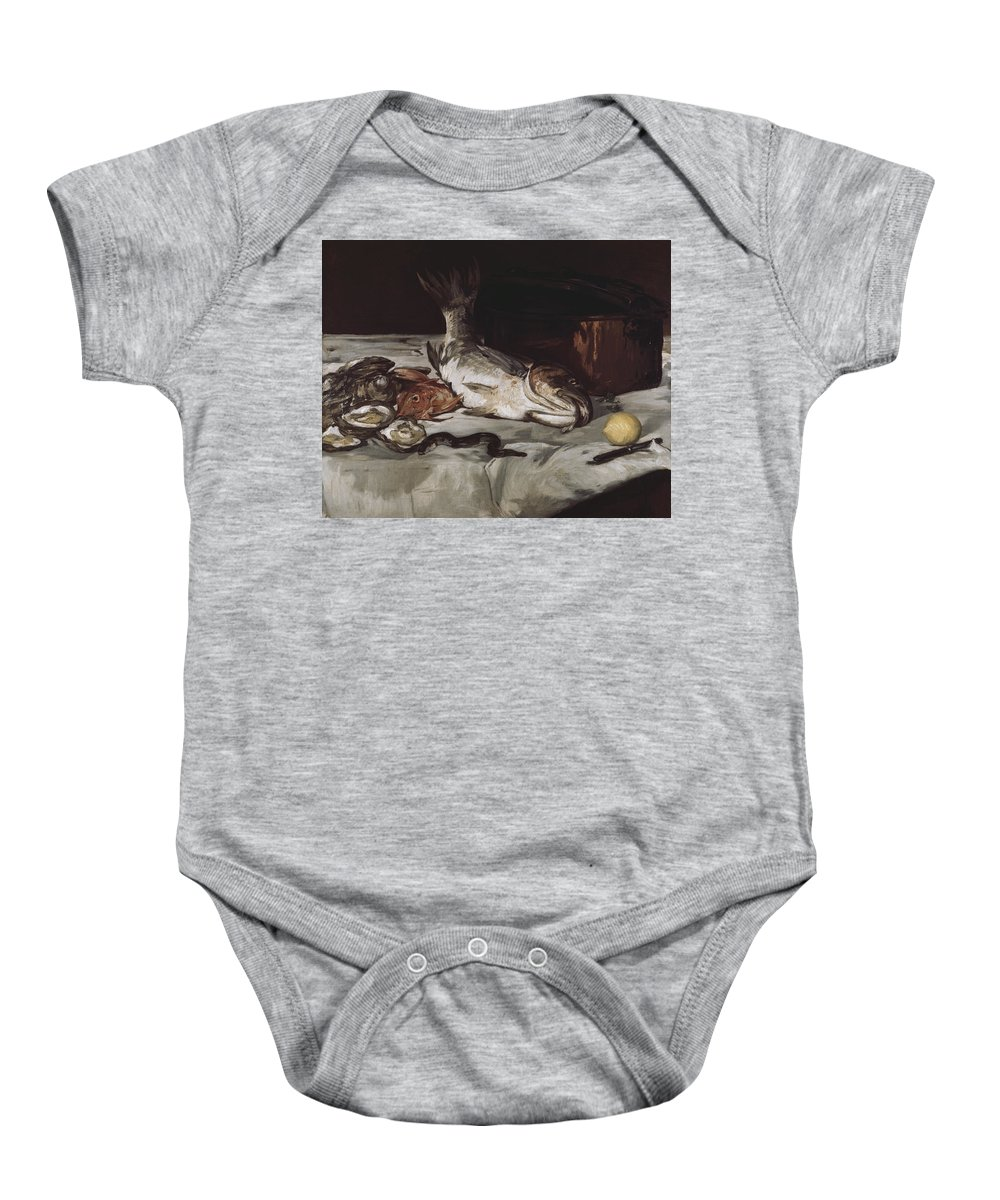 Fish (still Life) By Edouard Manet Baby Onesie featuring the painting Fish by MotionAge DesignsEdouard Manet