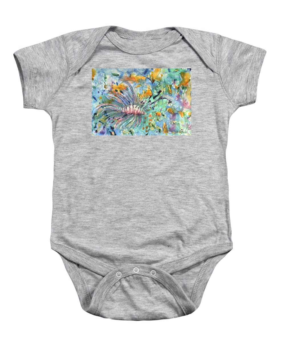 Fish Baby Onesie featuring the painting Fish by Shirley Sykes Bracken