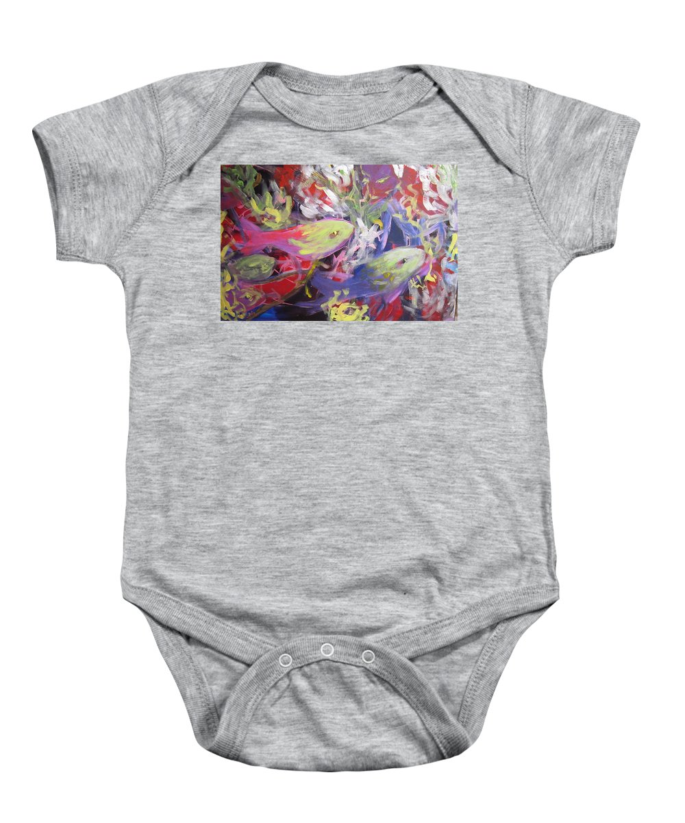 Animals Baby Onesie featuring the painting Fish Symphony by Laura Spinella