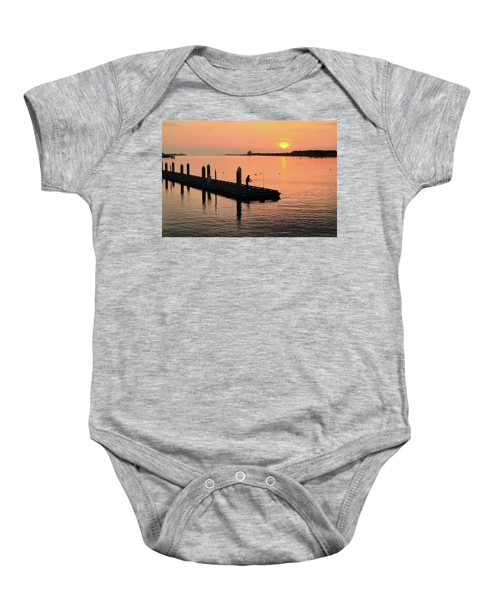 Fisherman Baby Onesie featuring the photograph Fisherman At Bandon by Seil Frary