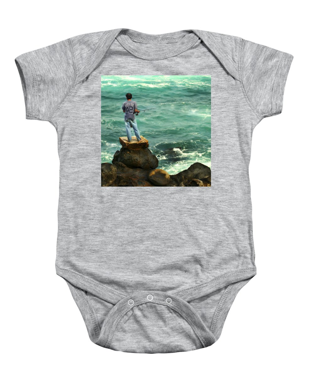 Americana Baby Onesie featuring the photograph Fisherman by Marilyn Hunt