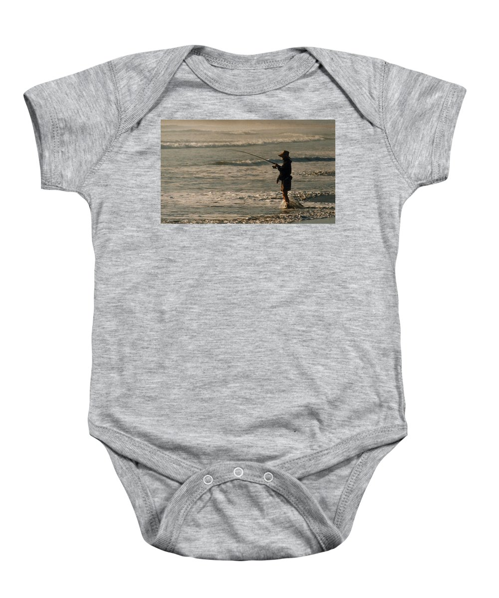 Fisherman Baby Onesie featuring the photograph Fisherman by Steve Karol