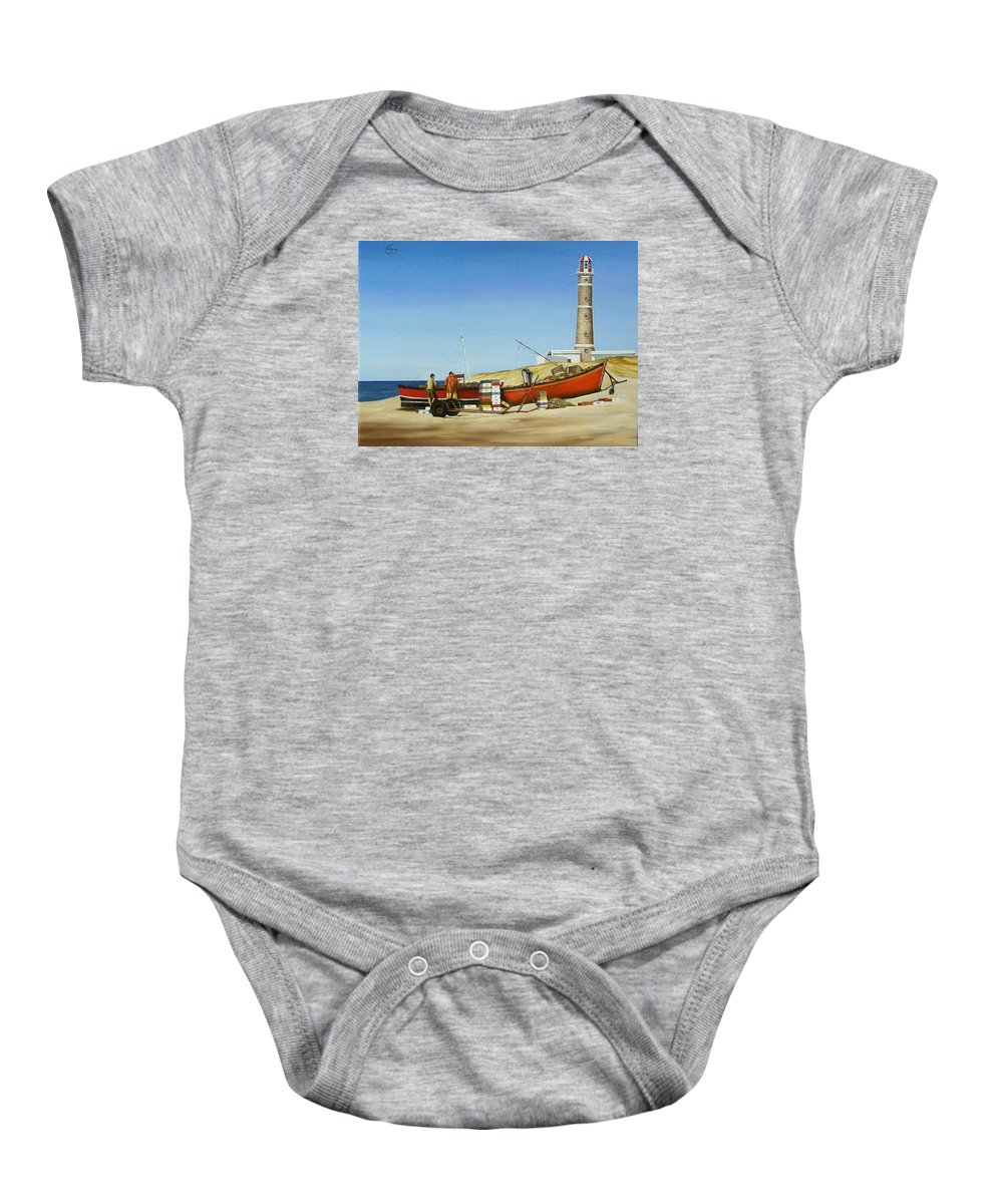 Lighthouse Fishermen Sea Seascape Baby Onesie featuring the painting Fishermen By Lighthouse by Natalia Tejera