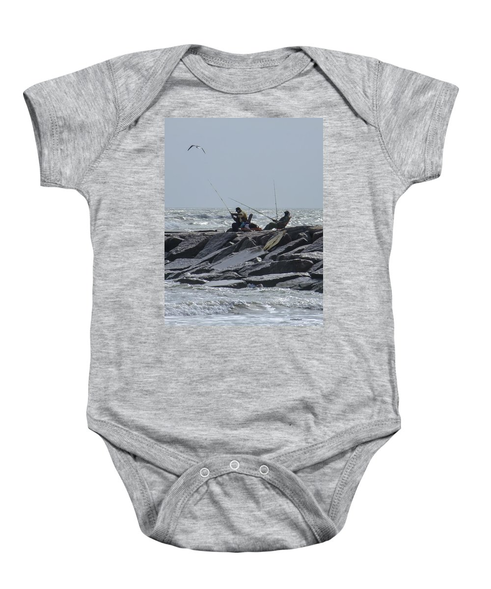 Galveston Baby Onesie featuring the photograph Fishermen With Seagull by Allen Sheffield