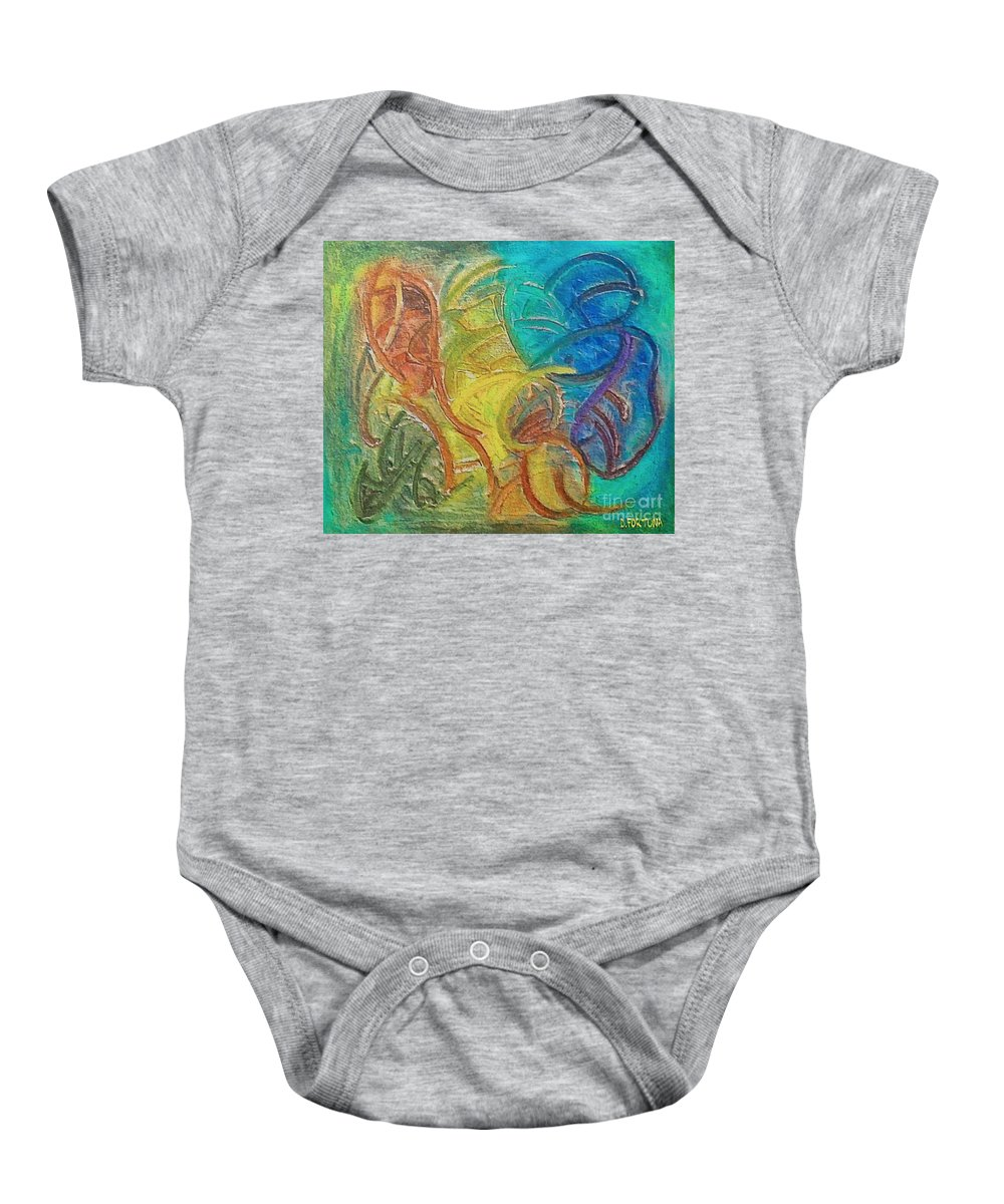 Mixed Media Baby Onesie featuring the mixed media Fishes by Dragica Micki Fortuna