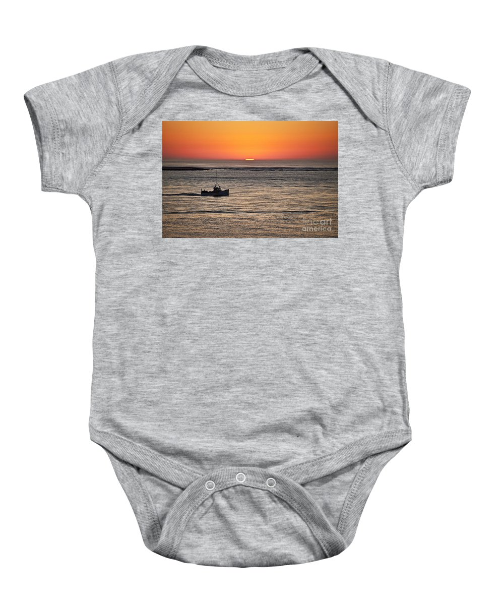 Cape Cod Baby Onesie featuring the photograph Fishing Boat At Sunrise. by John Greim