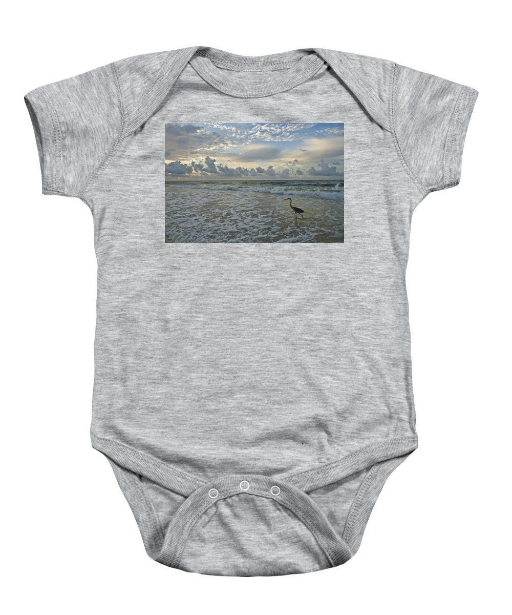 Blue Heron Baby Onesie featuring the photograph Fishing In The Morning by Jennifer Kelly