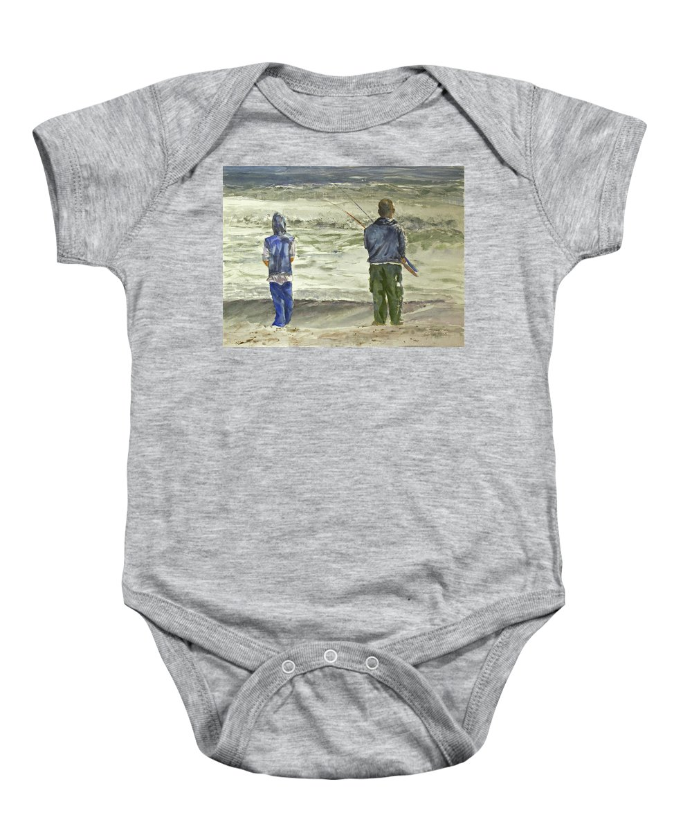 Fishing Baby Onesie featuring the painting Fishing On The Beach by Shirley Sykes Bracken