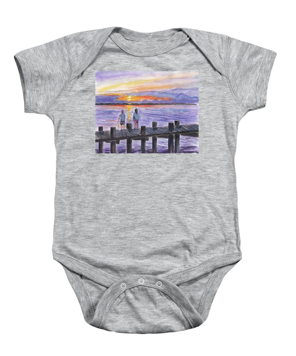 Children Baby Onesie featuring the painting Fishing On The Dock by Clara Sue Beym