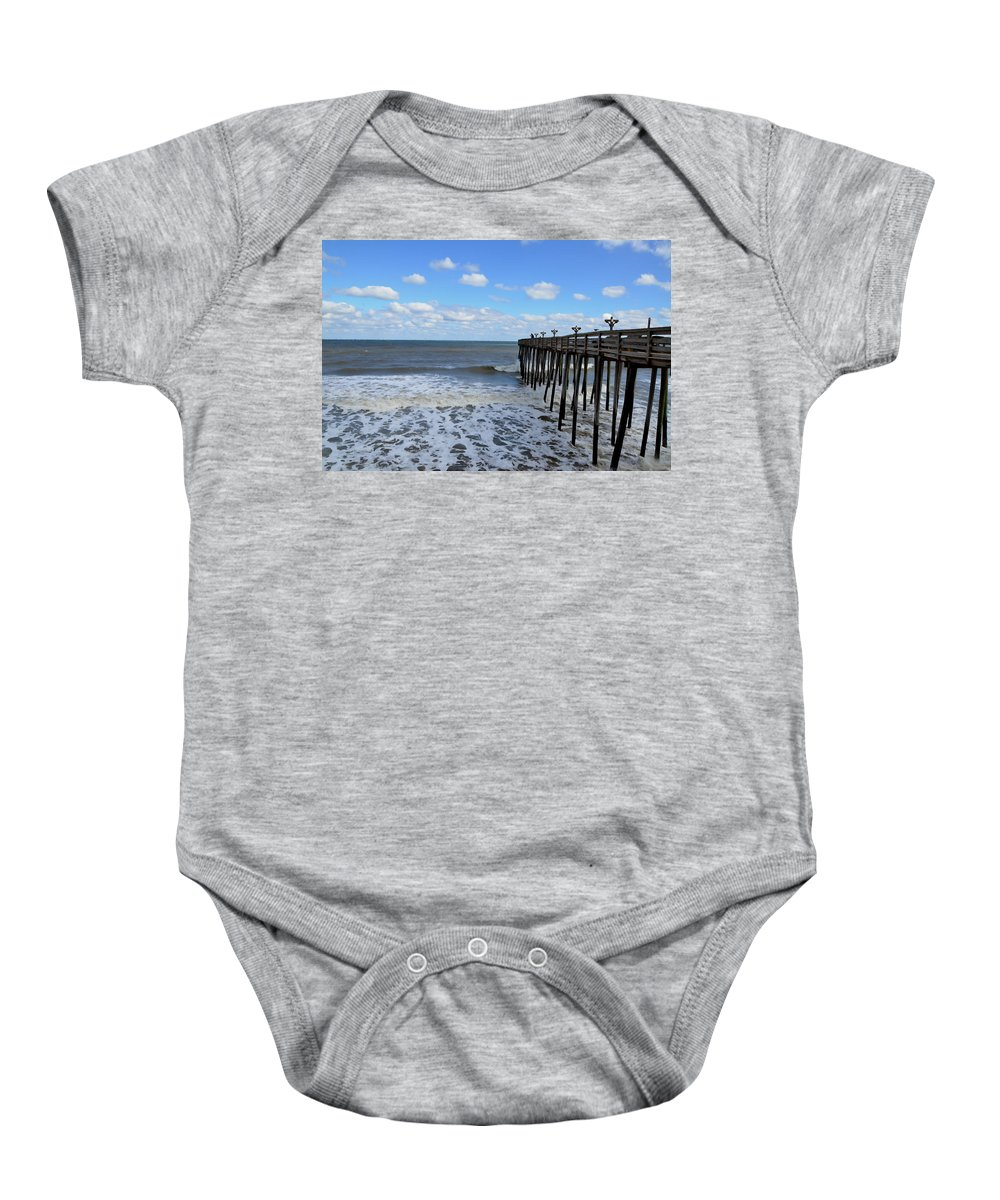 Fishing Pier Baby Onesie featuring the painting Fishing Pier 1 by Jeelan Clark